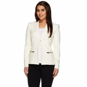 NEW GILI Twill Long Slv Faux Leather Blazer SZ 12